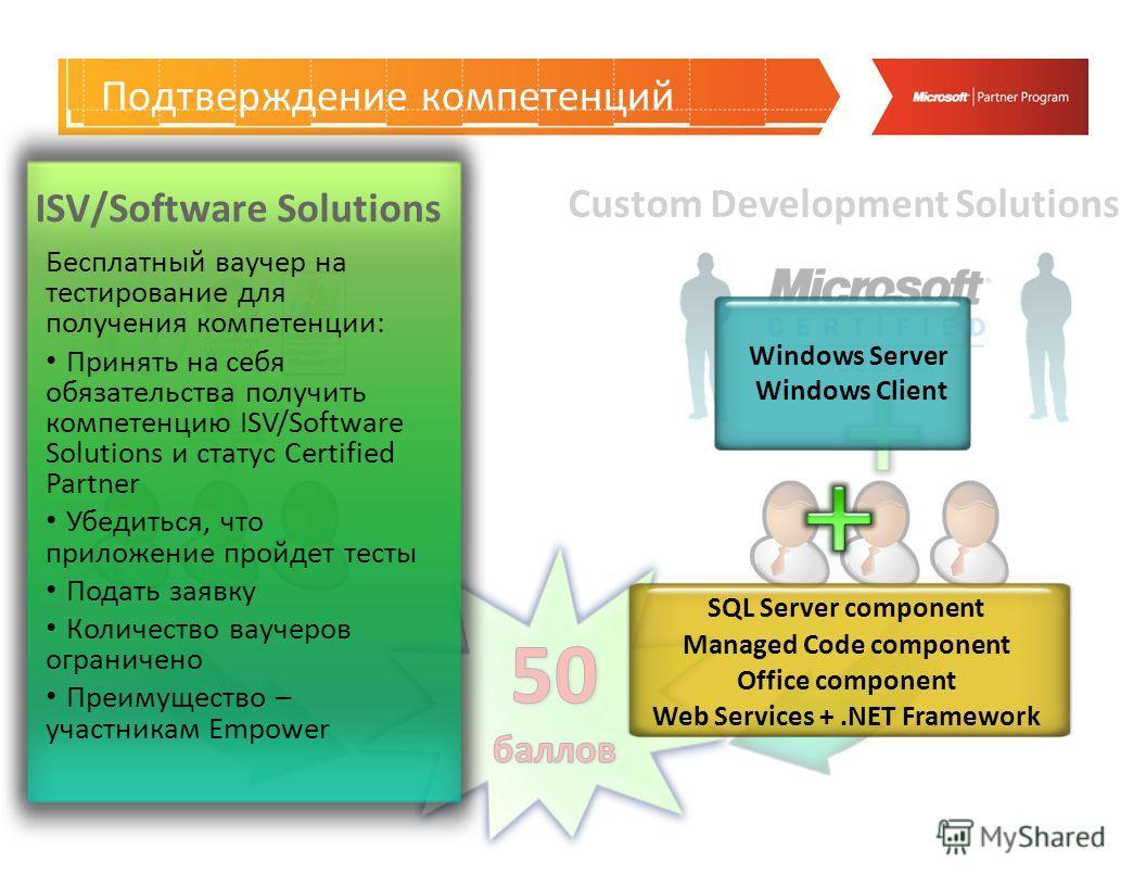 Custom Development Solutions Подтверждение компетенций Бесплатный ваучер на тестирование для получения компетенции: Принять на себя обязательства получить компетенцию ISV/Software Solutions и статус Certified Partner Убедиться, что приложение пройдет