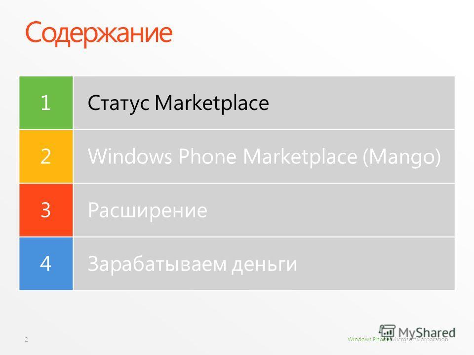 Windows Phone Microsoft Corporation. Содержание 2 1Статус Marketplace 2Windows Phone Marketplace (Mango) 3Расширение 4Зарабатываем деньги