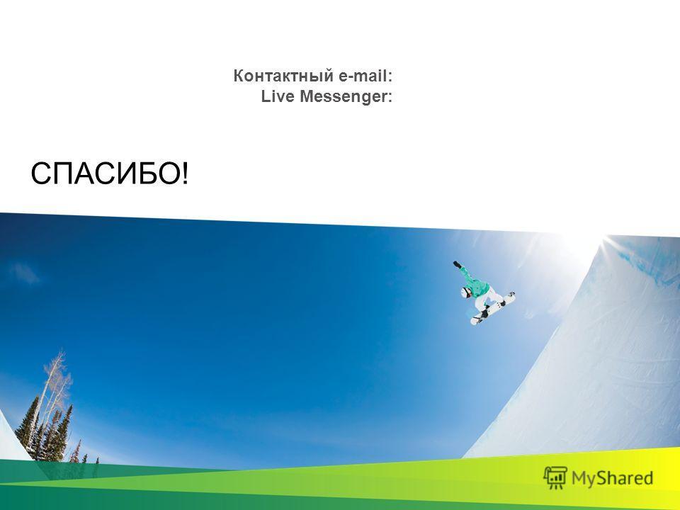 СПАСИБО! Контактный e-mail: Live Messenger: