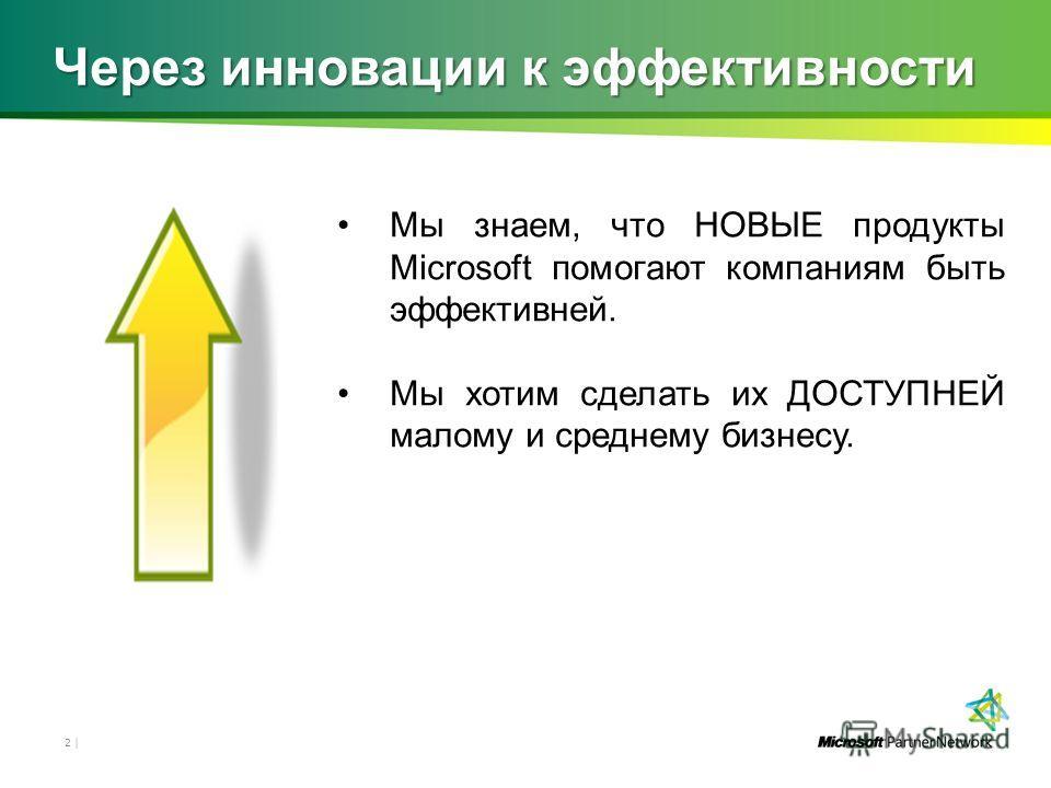 Через инновации к эффективности Мы знаем, что НОВЫЕ продукты Microsoft помогают компаниям быть эффективней. Мы хотим сделать их ДОСТУПНЕЙ малому и среднему бизнесу. 2 |