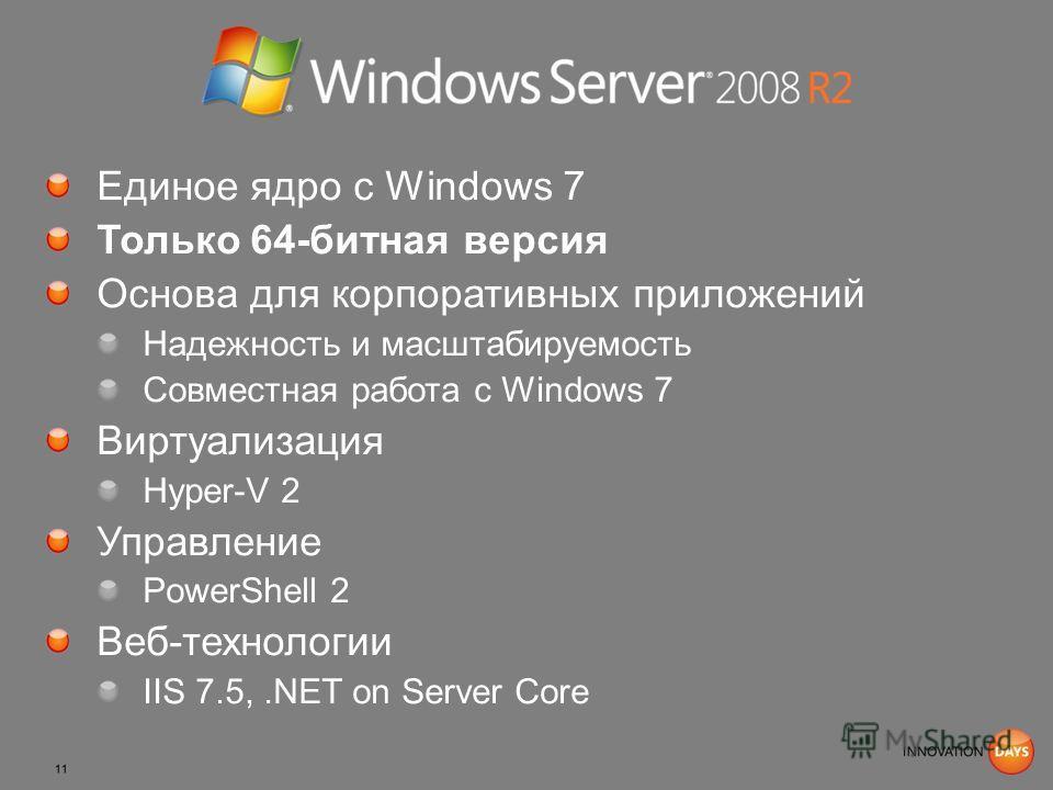 Единое ядро с Windows 7 Только 64-битная версия Основа для корпоративных приложений Надежность и масштабируемость Совместная работа с Windows 7 Виртуализация Hyper-V 2 Управление PowerShell 2 Веб-технологии IIS 7.5,.NET on Server Core