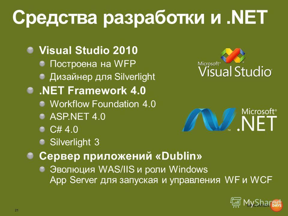 Средства разработки и.NET Visual Studio 2010 Построена на WFP Дизайнер для Silverlight.NET Framework 4.0 Workflow Foundation 4.0 ASP.NET 4.0 С# 4.0 Silverlight 3 Сервер приложений «Dublin» Эволюция WAS/IIS и роли Windows App Server для запуская и упр