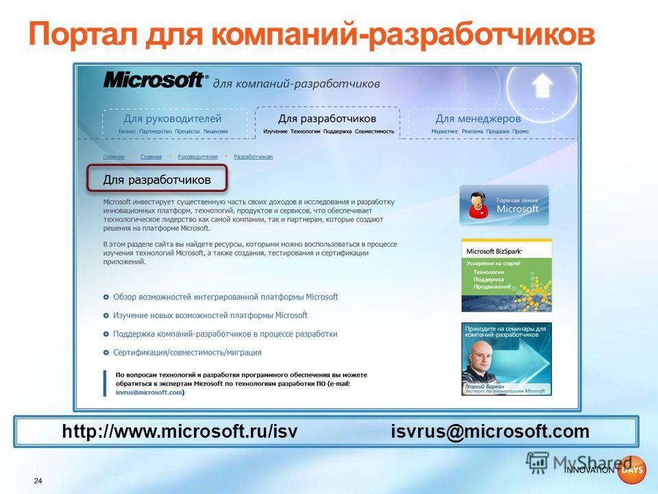 http://www.microsoft.ru/isv isvrus@microsoft.com