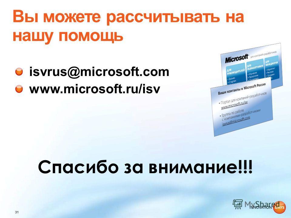 isvrus@microsoft.com www.microsoft.ru/isv Спасибо за внимание!!!