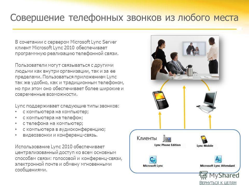 Совершение телефонных звонков из любого места В сочетании с сервером Microsoft Lync Server клиент Microsoft Lync 2010 обеспечивает программную реализацию телефонной связи. Пользователи могут связываться с другими людьми как внутри организации, так и