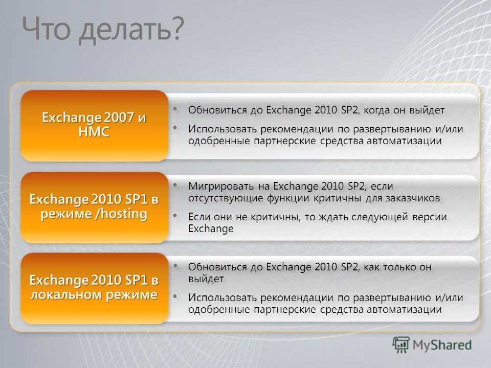 Что делать? Мигрировать на Exchange 2010 SP2, если отсутствующие функции критичны для заказчиков Если они не критичны, то ждать следующей версии Exchange Мигрировать на Exchange 2010 SP2, если отсутствующие функции критичны для заказчиков Если они не