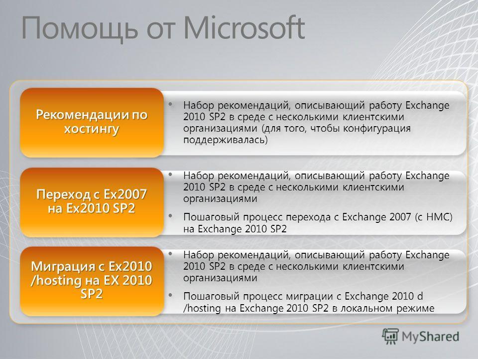 Помощь от Microsoft Набор рекомендаций, описывающий работу Exchange 2010 SP2 в среде с несколькими клиентскими организациями Пошаговый процесс перехода с Exchange 2007 (с HMC) на Exchange 2010 SP2 Набор рекомендаций, описывающий работу Exchange 2010