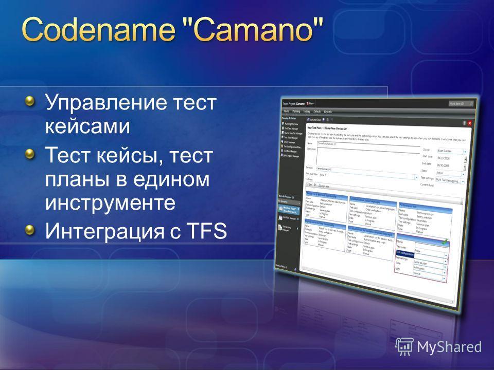 Управление тест кейсами Тест кейсы, тест планы в едином инструменте Интеграция с TFS