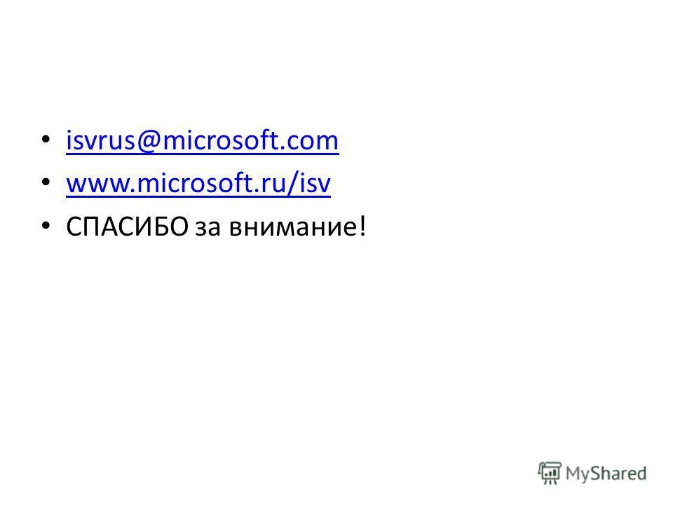isvrus@microsoft.com www.microsoft.ru/isv СПАСИБО за внимание!