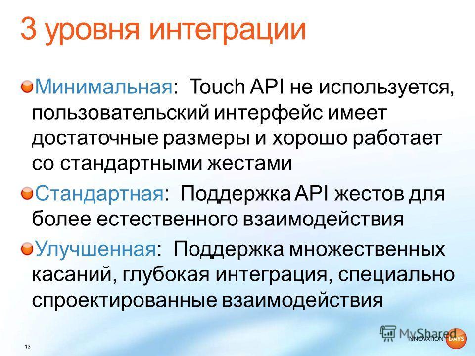 Минимальная: Touch API не используется, пользовательский интерфейс имеет достаточные размеры и хорошо работает со стандартными жестами Стандартная: Поддержка API жестов для более естественного взаимодействия Улучшенная: Поддержка множественных касани