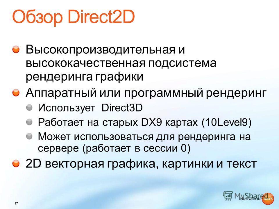 Высокопроизводительная и высококачественная подсистема рендеринга графики Аппаратный или программный рендеринг Использует Direct3D Работает на старых DX9 картах (10Level9) Может использоваться для рендеринга на сервере (работает в сессии 0) 2D вектор