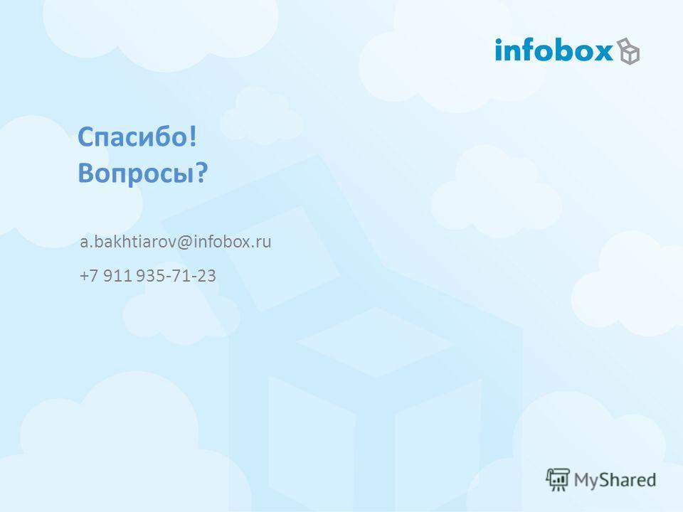 Спасибо! Вопросы? a.bakhtiarov@infobox.ru +7 911 935-71-23
