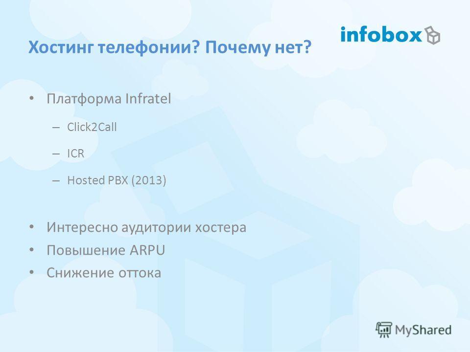 Хостинг телефонии? Почему нет? Платформа Infratel – Click2Call – ICR – Hosted PBX (2013) Интересно аудитории хостера Повышение ARPU Снижение оттока