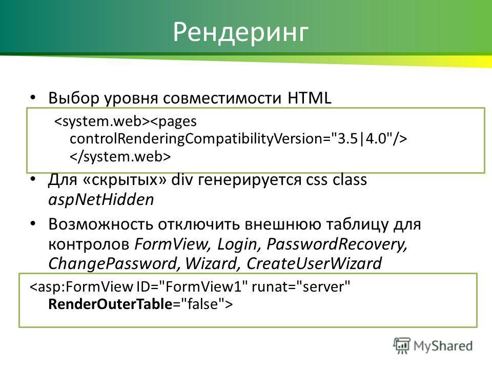 Рендеринг Выбор уровня совместимости HTML Для «скрытых» div генерируется css class aspNetHidden Возможность отключить внешнюю таблицу для контролов FormView, Login, PasswordRecovery, ChangePassword, Wizard, CreateUserWizard