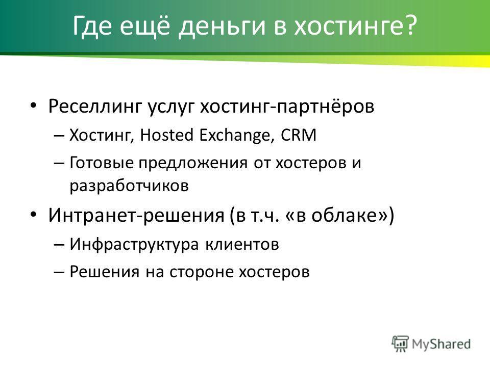Где ещё деньги в хостинге? Реселлинг услуг хостинг-партнёров – Хостинг, Hosted Exchange, CRM – Готовые предложения от хостеров и разработчиков Интранет-решения (в т.ч. «в облаке») – Инфраструктура клиентов – Решения на стороне хостеров