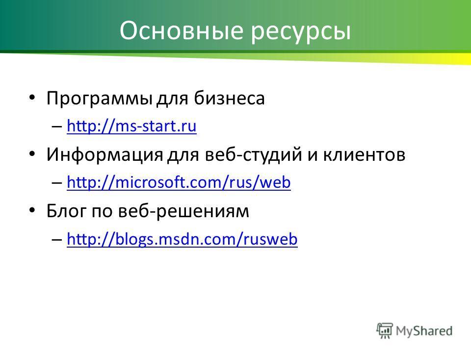 Основные ресурсы Программы для бизнеса – http://ms-start.ru http://ms-start.ru Информация для веб-студий и клиентов – http://microsoft.com/rus/web http://microsoft.com/rus/web Блог по веб-решениям – http://blogs.msdn.com/rusweb http://blogs.msdn.com/