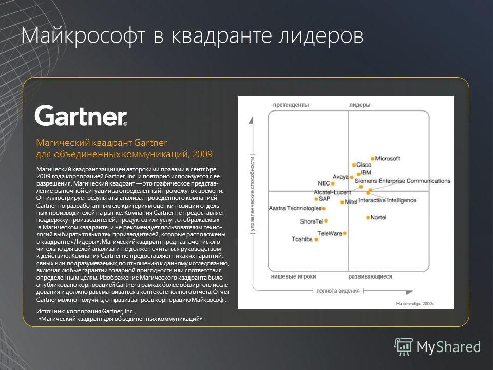 Майкрософт в квадранте лидеров Магический квадрант защищен авторскими правами в сентябре 2009 года корпорацией Gartner, Inc. и повторно используется с ее разрешения. Магический квадрант это графическое представ- ление рыночной ситуации за определенны