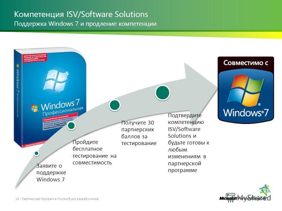 Компетенция ISV/Software Solutions Партнерская Программа Microsoft для разработчиков 14 | Поддержка Windows 7 и продление компетенции Заявите о поддержке Windows 7 Пройдите бесплатное тестирование на совместимость Получите 30 партнерских баллов за те