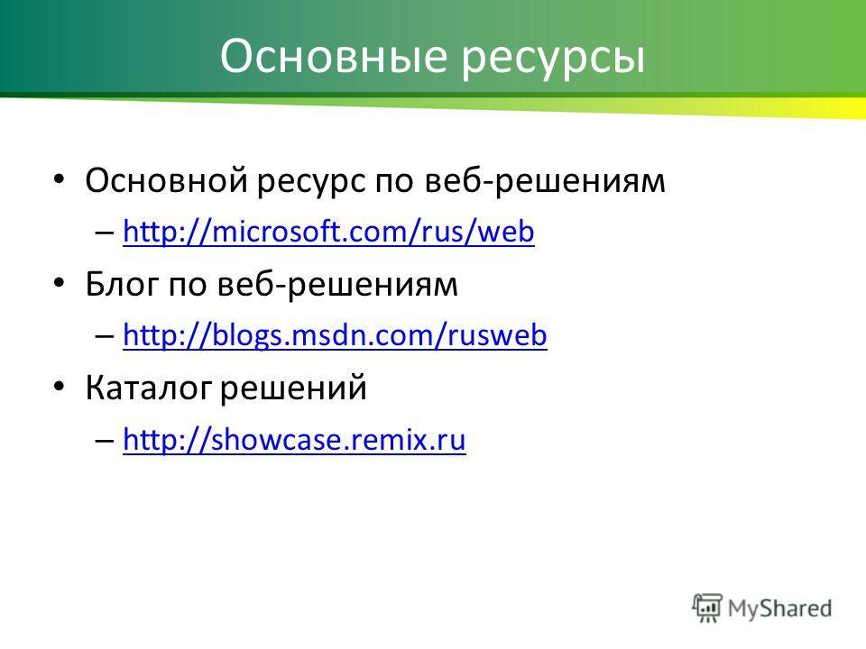 Основные ресурсы Основной ресурс по веб-решениям – http://microsoft.com/rus/web http://microsoft.com/rus/web Блог по веб-решениям – http://blogs.msdn.com/rusweb http://blogs.msdn.com/rusweb Каталог решений – http://showcase.remix.ru http://showcase.r