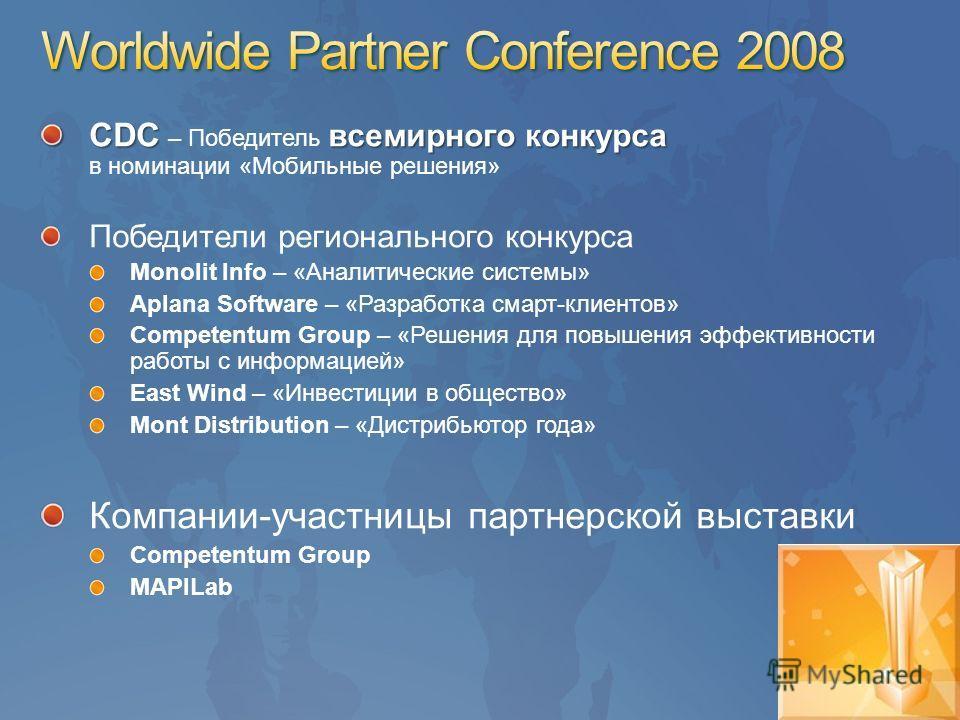 CDC всемирного конкурса CDC – Победитель всемирного конкурса в номинации «Мобильные решения» Победители регионального конкурса Monolit Info – «Аналитические системы» Aplana Software – «Разработка смарт-клиентов» Competentum Group – «Решения для повыш