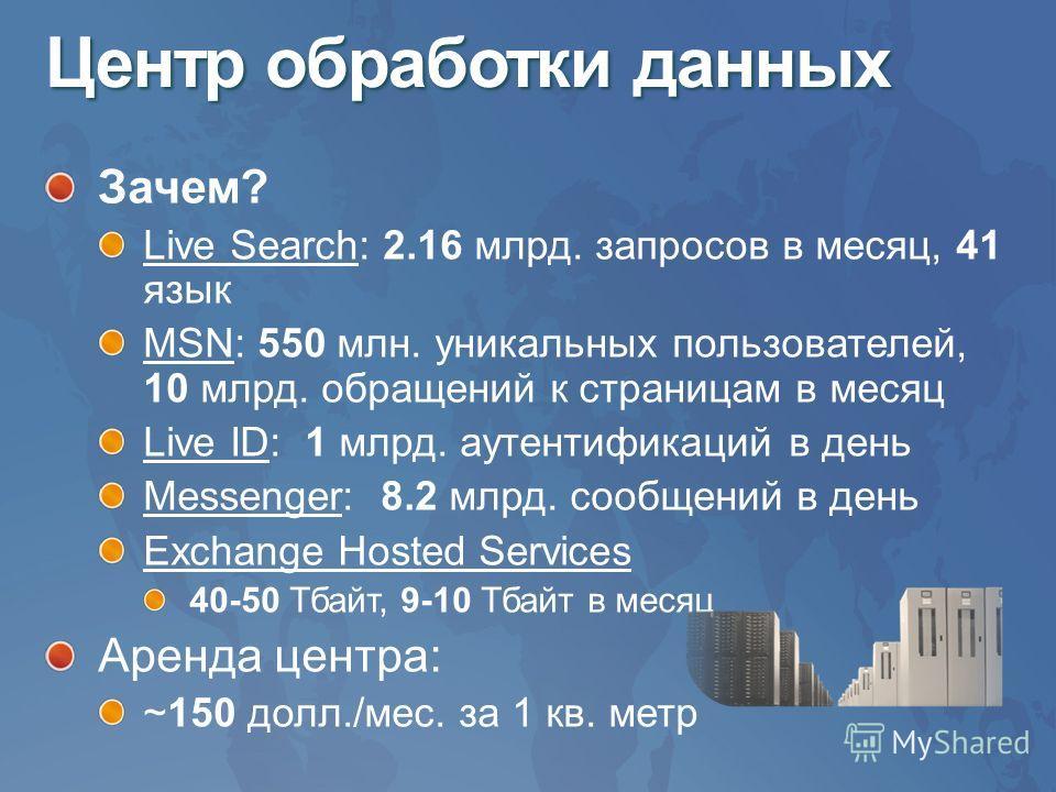 Центр обработки данных Зачем? Live Search: 2.16 млрд. запросов в месяц, 41 язык MSN: 550 млн. уникальных пользователей, 10 млрд. обращений к страницам в месяц Live ID: 1 млрд. аутентификаций в день Messenger: 8.2 млрд. сообщений в день Exchange Hoste