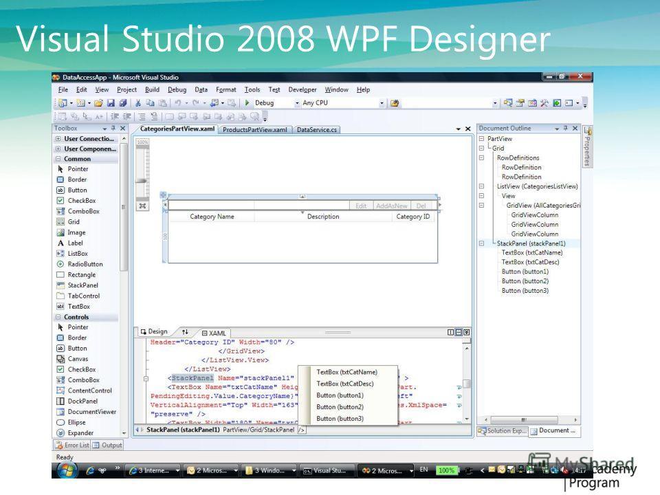 Ключевые возможности Декларативная разработка - XAML Расположение элементов управления (Layouts) Стили (Styles) Шаблоны (Control/Data templates) Связывание (Bindings) Анимации Текст 3D Совместимость с Windows Forms Templated Button Binding TargetBind