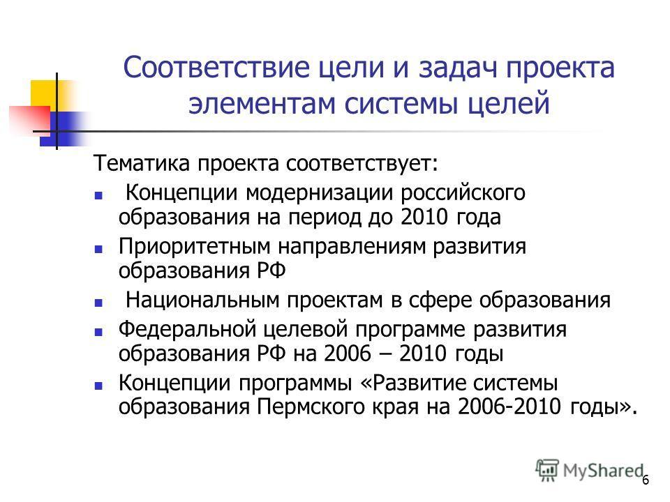 6 Соответствие цели и задач проекта элементам системы целей Тематика проекта соответствует: Концепции модернизации российского образования на период до 2010 года Приоритетным направлениям развития образования РФ Национальным проектам в сфере образова