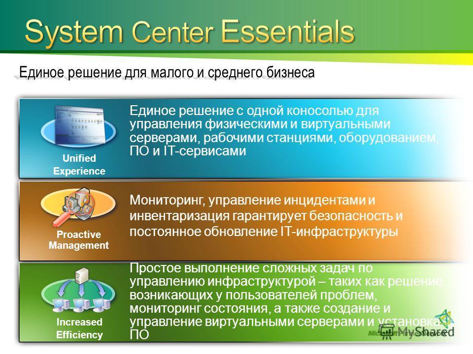 Единое решение для малого и среднего бизнеса Единое решение с одной коносолью для управления физическими и виртуальными серверами, рабочими станциями, оборудованием, ПО и IT-сервисами Простое выполнение сложных задач по управлению инфраструктурой – т