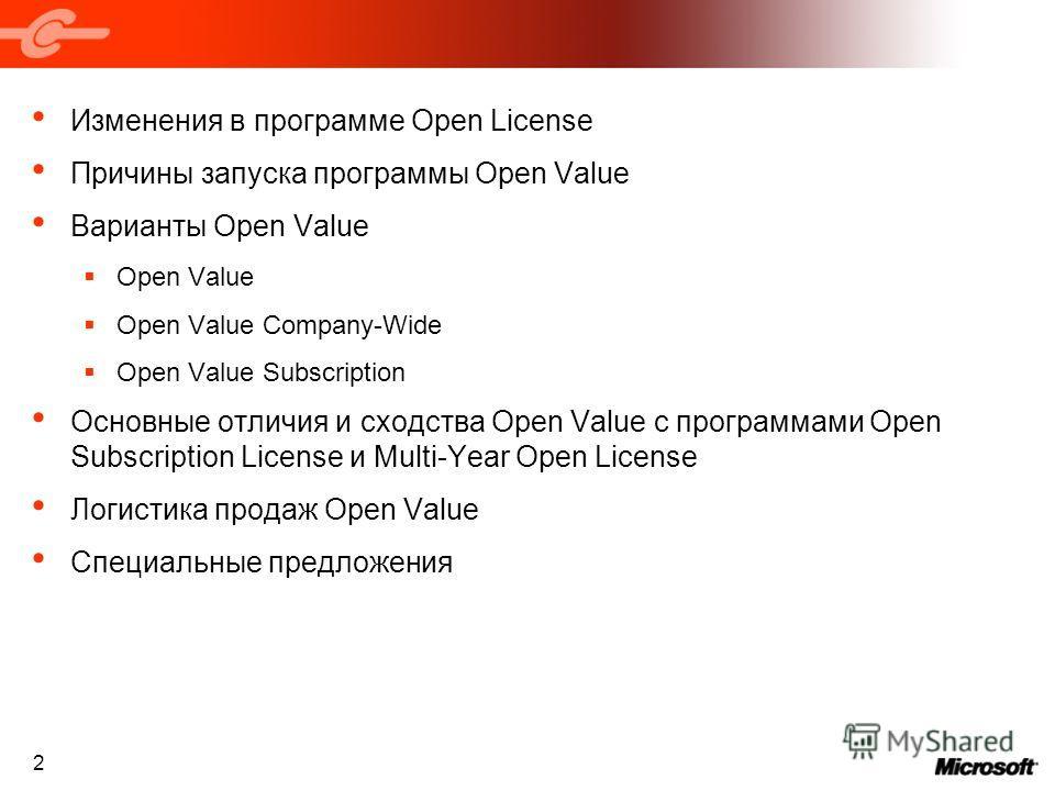 2 Изменения в программе Open License Причины запуска программы Open Value Варианты Open Value Open Value Open Value Company-Wide Open Value Subscription Основные отличия и сходства Open Value с программами Open Subscription License и Multi-Year Open