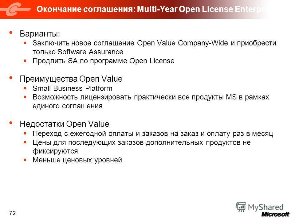 72 Окончание соглашения: Multi-Year Open License Enterprise Варианты: Заключить новое соглашение Open Value Company-Wide и приобрести только Software Assurance Продлить SA по программе Open License Преимущества Open Value Small Business Platform Возм
