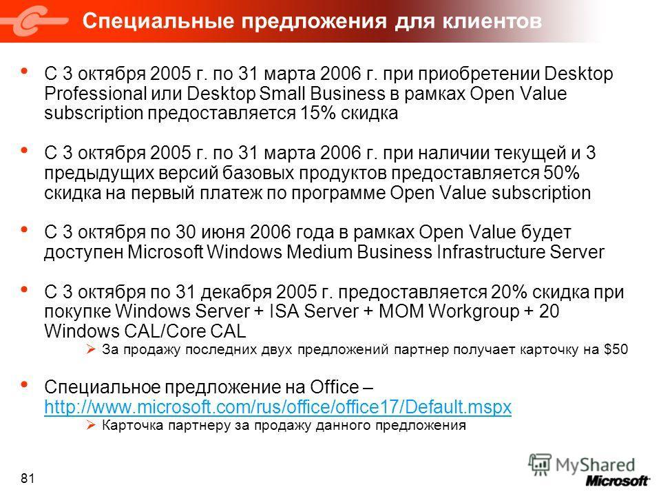 81 Специальные предложения для клиентов С 3 октября 2005 г. по 31 марта 2006 г. при приобретении Desktop Professional или Desktop Small Business в рамках Open Value subscription предоставляется 15% скидка С 3 октября 2005 г. по 31 марта 2006 г. при н