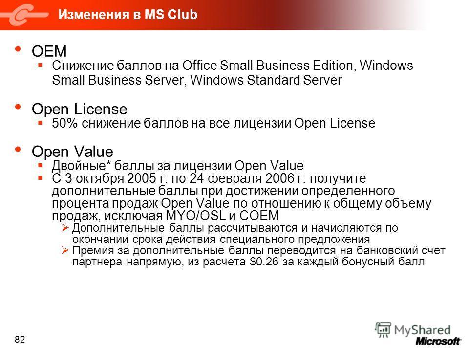 82 Изменения в MS Club OEM Снижение баллов на Office Small Business Edition, Windows Small Business Server, Windows Standard Server Open License 50% снижение баллов на все лицензии Open License Open Value Двойные* баллы за лицензии Open Value С 3 окт