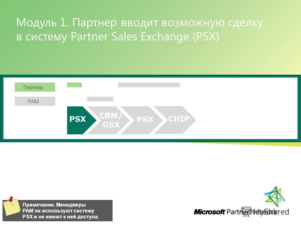 Модуль 1. Партнер вводит возможную сделку в систему Partner Sales Exchange (PSX) Управление программой Software Asset Management 12 | Примечание. Менеджеры PAM не используют систему PSX и не имеют к ней доступа. PSX CRM/ GSX Партнер PAM PSX CHIP