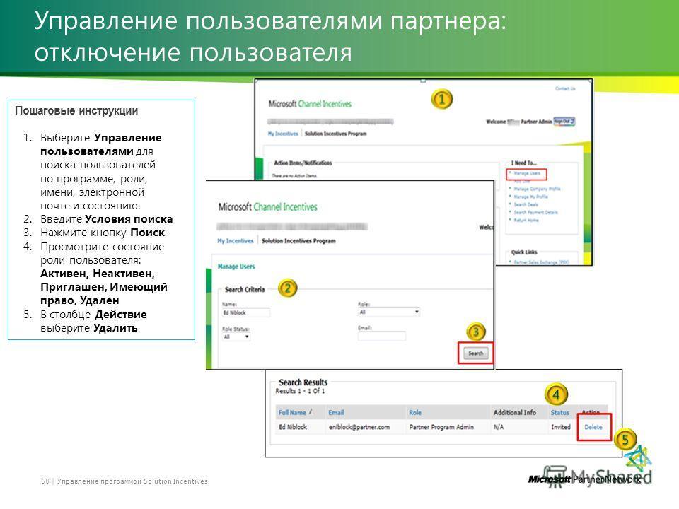 Управление пользователями партнера: отключение пользователя Управление программой Solution Incentives60 | Пошаговые инструкции 1.Выберите Управление пользователями для поиска пользователей по программе, роли, имени, электронной почте и состоянию. 2.В