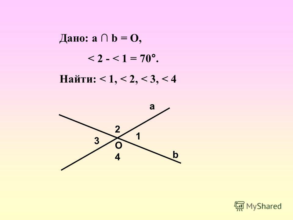 Дано: a b = О, < 2 - < 1 = 70°. Найти: < 1, < 2, < 3, < 4 а b 1 2 3 4 О