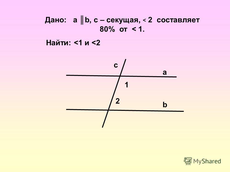 Дано: a b, с – секущая, < 2 составляет 80% от < 1. Найти: