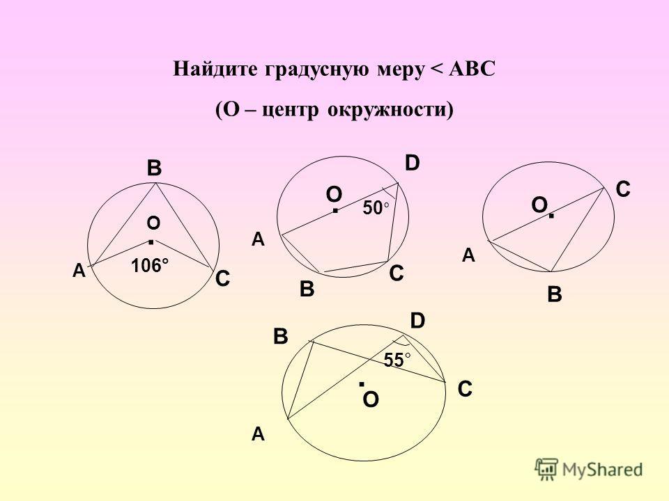 Найдите градусную меру < АВС (О – центр окружности). А В С О 106° О. 50 ° А В С D А В С О.. О А В С D 55°