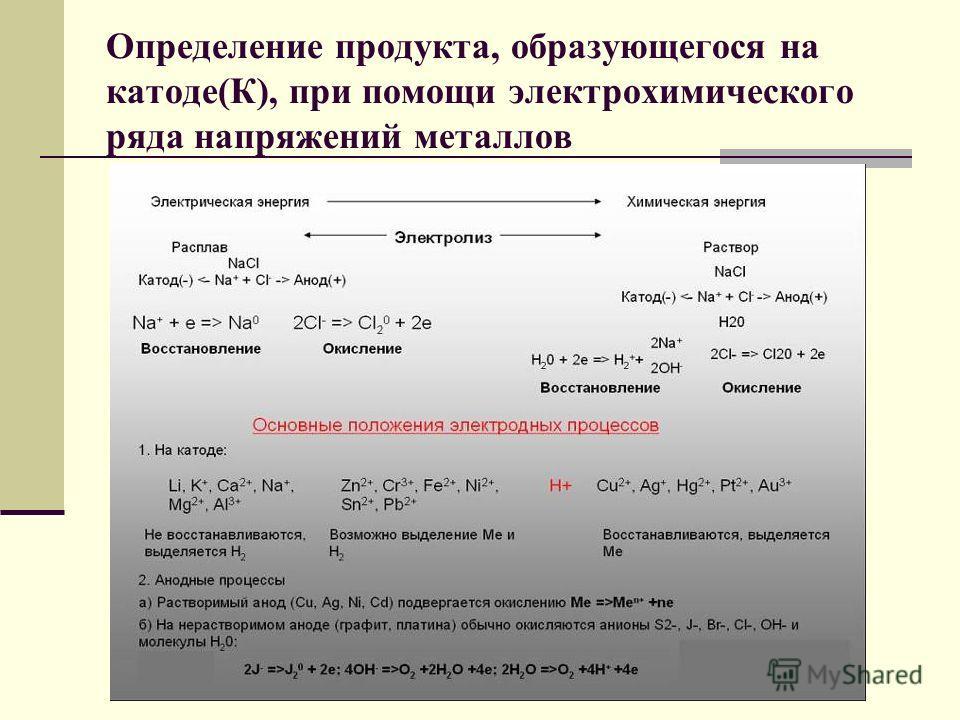 Определение продукта, образующегося на катоде(К), при помощи электрохимического ряда напряжений металлов