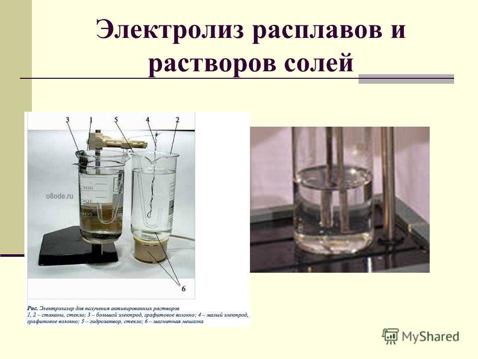 Электролиз расплавов и растворов солей