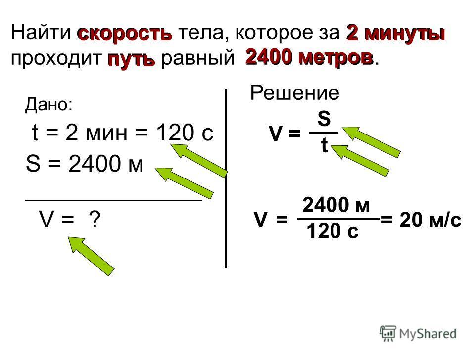 Найти скорость тела, которое за 2 минуты проходит путь равный 2400 метров. Дано: t = 2 мин = 120 с S = 2400 м _________________ V = ? 2 минуты путь 2400 метров скорость Решение V= 2400 м 120 с =20 м/с V = S t