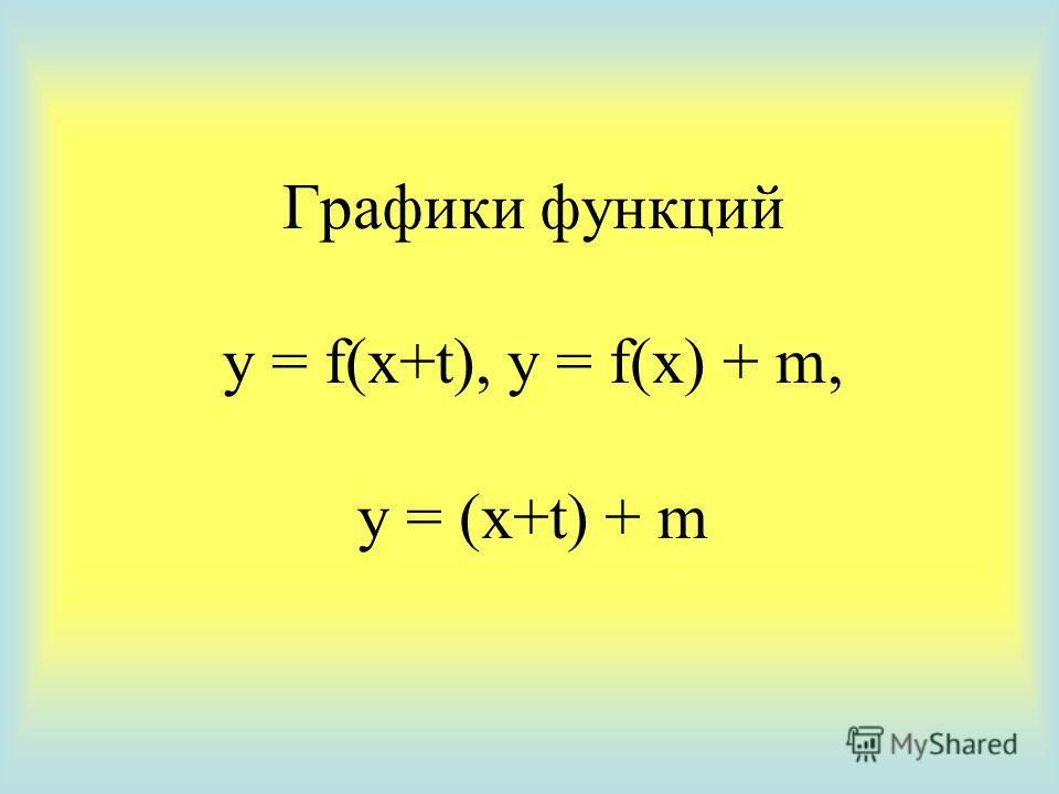 Графики функций y = f(x+t), y = f(x) + m, y = (x+t) + m