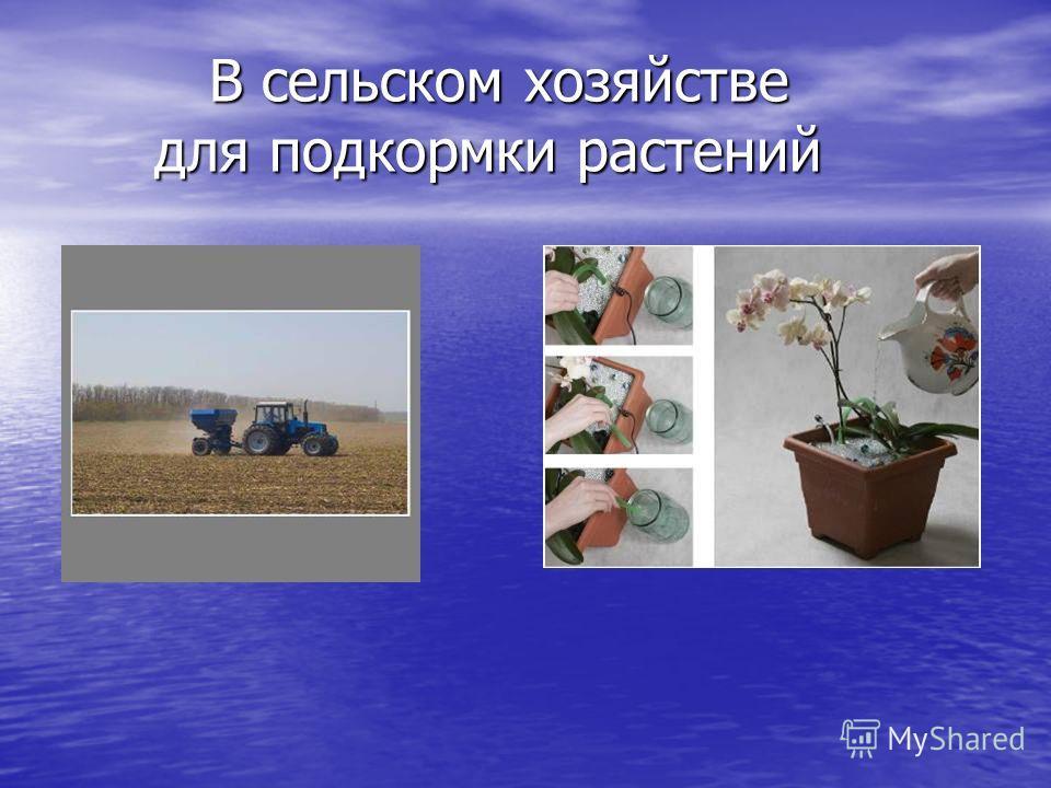 В сельском хозяйстве для подкормки растений В сельском хозяйстве для подкормки растений