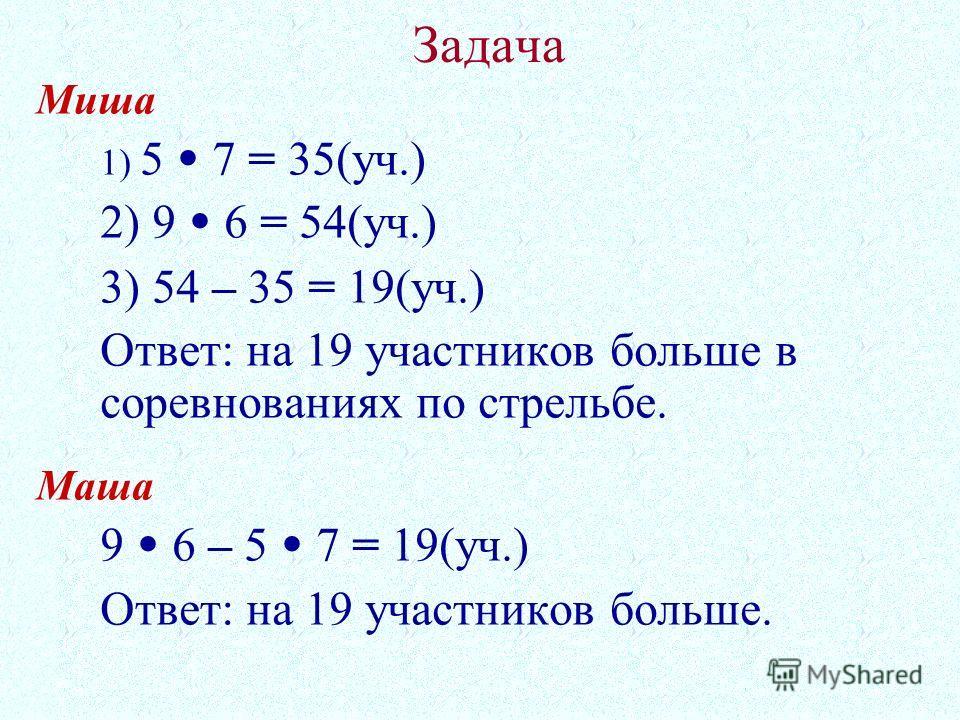 Задача Миша 1) 5 7 = 35(уч.) 2) 9 6 = 54(уч.) 3) 54 – 35 = 19(уч.) Ответ: на 19 участников больше в соревнованиях по стрельбе. Маша 9 6 – 5 7 = 19(уч.) Ответ: на 19 участников больше.