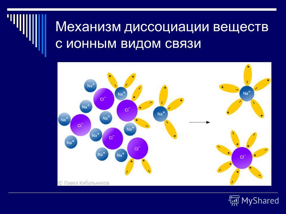 Механизм диссоциации веществ с ионным видом связи