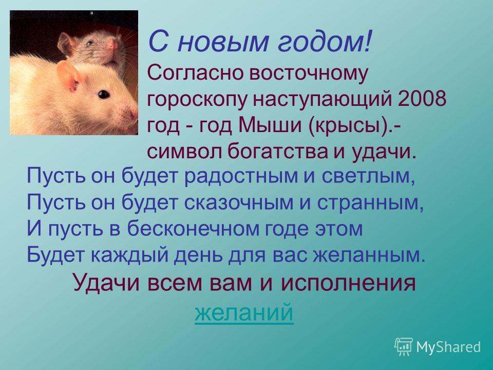 С новым годом! Согласно восточному гороскопу наступающий 2008 год - год Мыши (крысы).- символ богатства и удачи. Пусть он будет радостным и светлым, Пусть он будет сказочным и странным, И пусть в бесконечном годе этом Будет каждый день для вас желанн