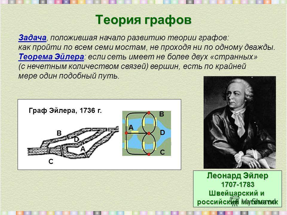 Теория графов Граф Эйлера, 1736 г. A A D B C Задача, положившая начало развитию теории графов: как пройти по всем семи мостам, не проходя ни по одному дважды. Теорема Эйлера: если сеть имеет не более двух «странных» (с нечетным количеством связей) ве