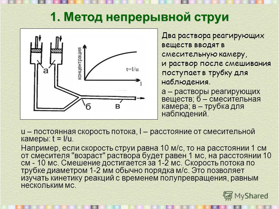 1. Метод непрерывной струи t = l/u u – постоянная скорость потока, l – расстояние от смесительной камеры: t = l/u. Например, если скорость струи равна 10 м/с, то на расстоянии 1 см от смесителя