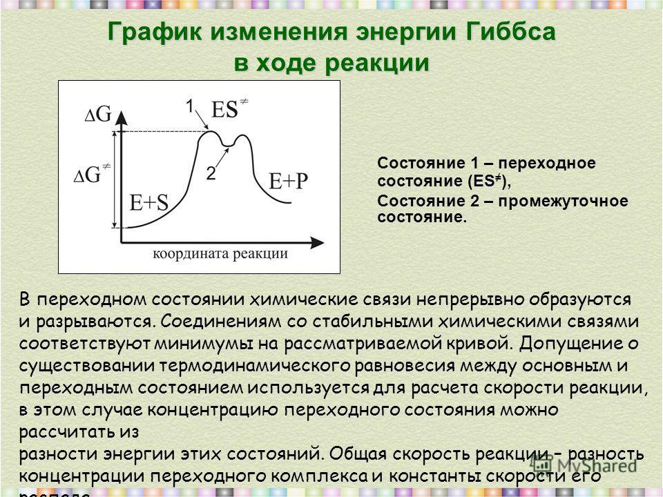 График изменения энергии Гиббса в ходе реакции Состояние 1 – переходное состояние (ES ), Состояние 2 – промежуточное состояние. В переходном состоянии химические связи непрерывно образуются и разрываются. Соединениям со стабильными химическими связям