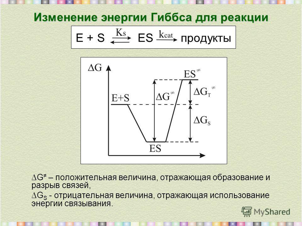 Изменение энергии Гиббса для реакции Изменение энергии Гиббса для реакции E + S ES продукты G – положительная величина, отражающая образование и разрыв связей, G S - отрицательная величина, отражающая использование энергии связывания.