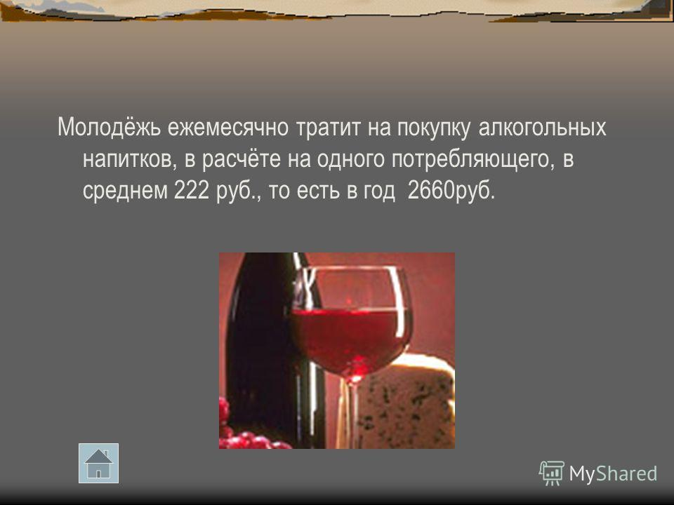 Молодёжь ежемесячно тратит на покупку алкогольных напитков, в расчёте на одного потребляющего, в среднем 222 руб., то есть в год 2660руб.